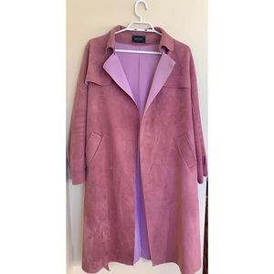 Suede Belted Trench Coat Large